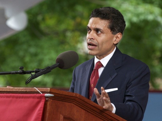 Fareed Zakaria delivers his Commencement afternoon address in Tercentenary Theatre.