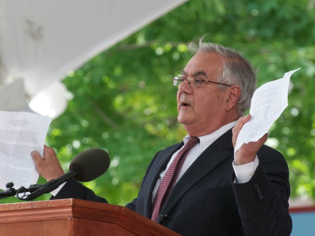 U.S. Representative Barney Frank holding up a copy of the Marshall speech from 1947.