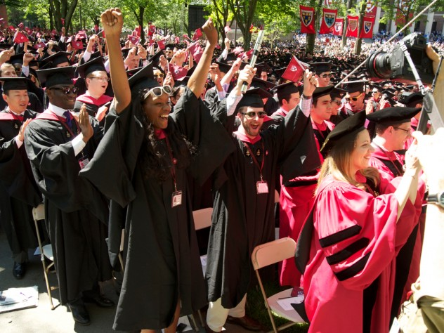 College and doctoral students express their sentiments, loudly, at Commencement.