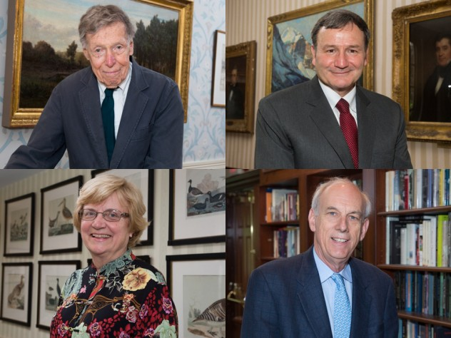 Top row, from left: Daniel Aaron and Karl Eikenberry. Bottom row, from left: Nancy Hopkins and Robert Keohane