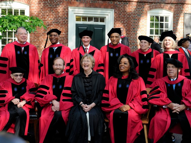 Front row from left: José Antonio Abreu, Provost Alan Garber, President Drew Faust, Oprah Winfrey, and Thomas M. Menino. Back row from left: C. (Clemmie) Dixon Spangler Jr, Donald R. Hopkins, Lord Robert M. May, Sir Partha Dasgupta, JoAnne Stubbe, and Elaine Pagels.