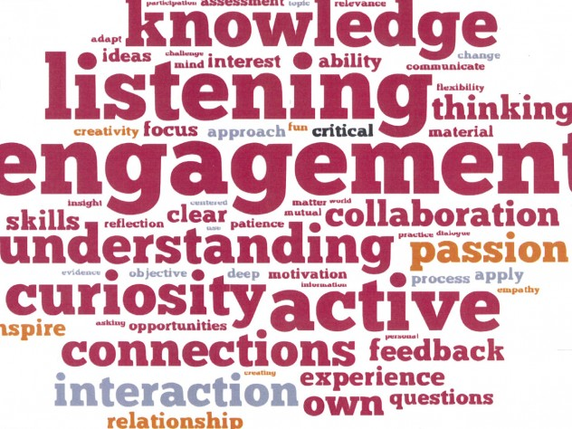 A word cloud disseminated at the  HILT conference captures participants' views of the ingredients essential to learning and good teaching.