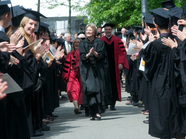 President Drew Faust leads the procession of dignitaries into Sanders Theatre.