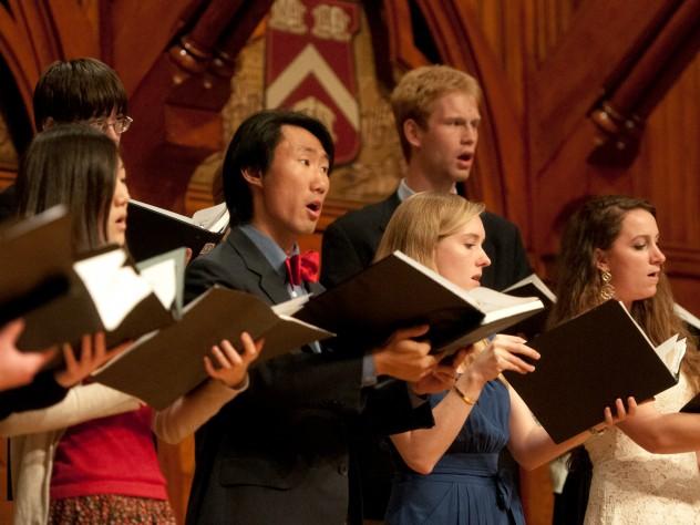 The student Harvard-Radcliffe Collegium Musicum performs during the Literary Exercises.