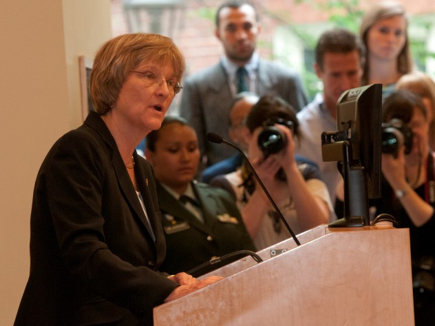 President Drew Faust, in remarks at the ROTC commissioning ceremony, said that too many Americans do not fully understand what they are asking of their military.