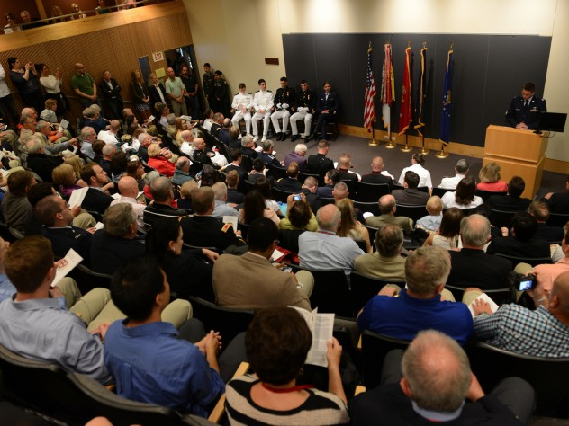 Bad weather on Wednesday morning forced the annual commissioning ceremony inside.