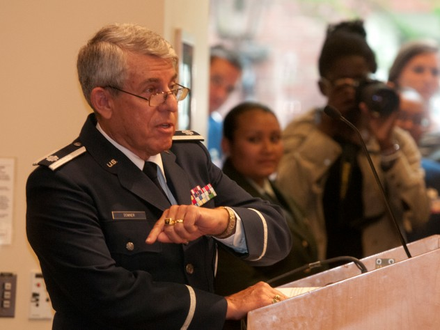 Lieutenant Colonel David R. Downer '63, a member of the fiftieth reunion class, now retired from the U.S. Air Force, offered practical advice to the soon-to-be officers.