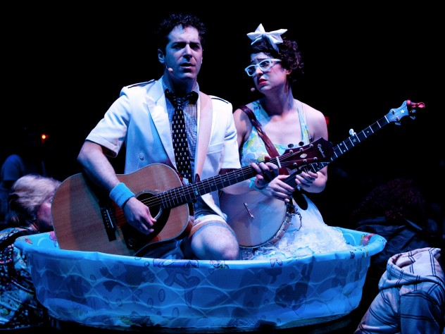 Zeke Sulkes (Frederic) and Christine Stulik (Mabel) in the kiddie pool.
