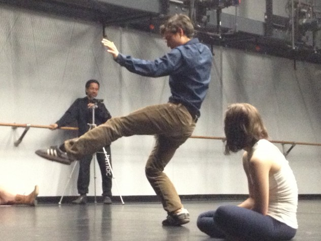 Cabreros demonstrates a movement at an audience discussion following a May 1 performance at Harvard.