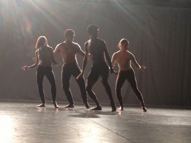 "Harvard dancers Rebecca Neumann, Rossi Walter, Nazc-a-ru Gonzalez, and Halimeda Glickman-Hoch perform ""Quartet for the End of Time."""