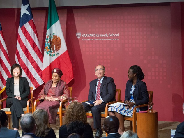 Left to right: M.P.P. candidate Jieum Baek, Ellen Johnson Sirleaf, president of Liberia,  Felipe Calderón, former president of Mexico, and M.P.A. candidate Amandla Agoro Ooko-Ombaka