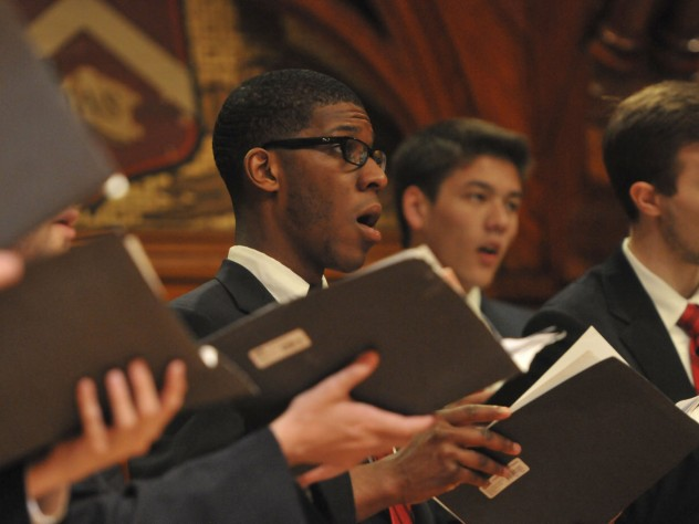 """The Commencement Choir performed """"The Road Not Taken,"""" a setting by Randall Thompson '20 of the poem by Robert Frost '01, Litt.D. '37."""