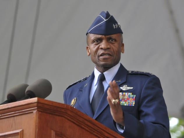 U.S. Air Force general Darren W. McDew, commander of Air Mobility Command, delivered the main address.