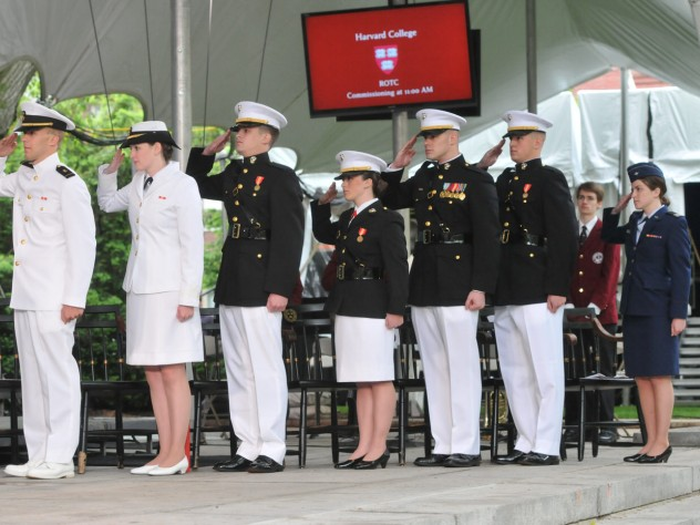 The Harvard ROTC class of 2014 (from the left): imminent officers Christopher J. Curtis, Catherine M. Philbin, James S. Brooks, Catherine A. Brown, Taylor B. Evans, Peter Machtiger, and Madison Coveno
