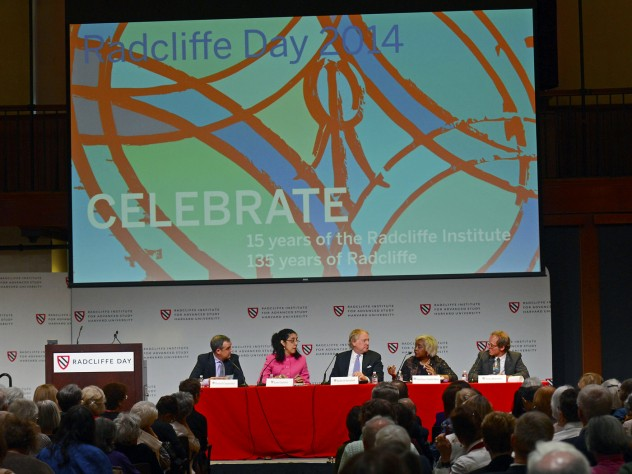 (Left to right) Daniel  Carpenter, RI '08, Lani Guinier '71, Robert Korstad, Darlene Clark Hine, RI '04, Tony Horwitz, RI '06