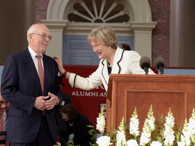President Faust confers a surprise Harvard Medal on Jack Reardon, who is stepping down as executive director of the Harvard Alumni Association, but remaining active in Harvard affairs.