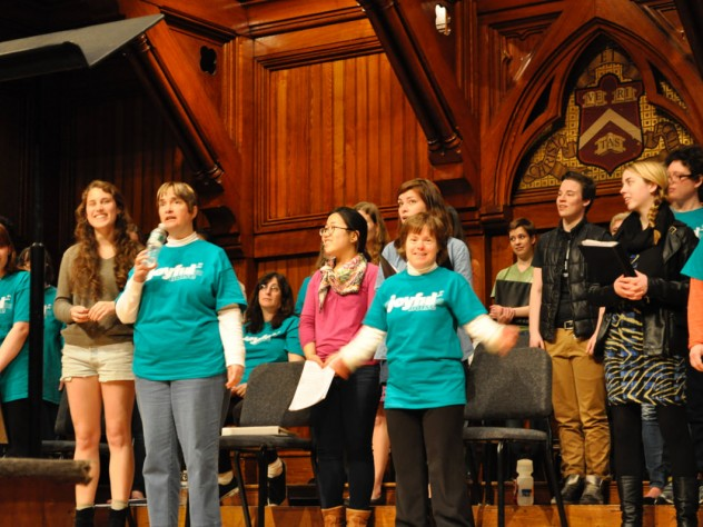 Undergraduates and visitors rehearse on the Sanders stage.