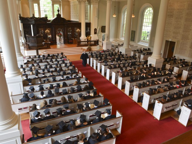Memorial Church, filled to capacity with seniors attending the Baccalaureate service