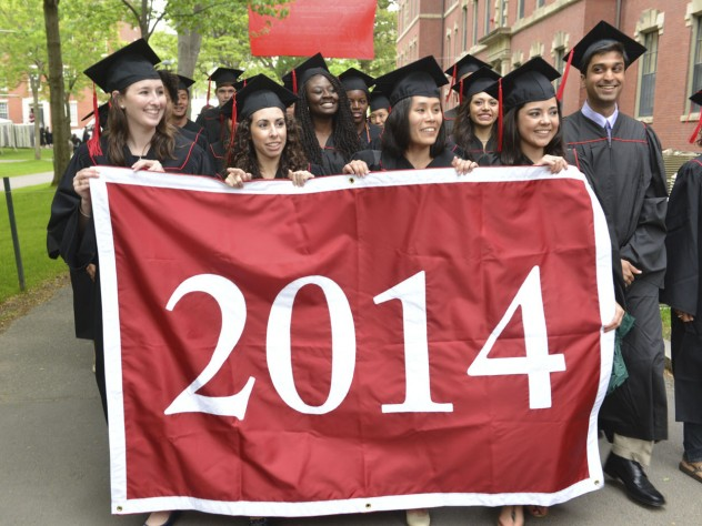 The Class of 2014 processed through the Old Yard to Memorial Church for the Baccalaureate service, which includes an address from President Drew Faust.