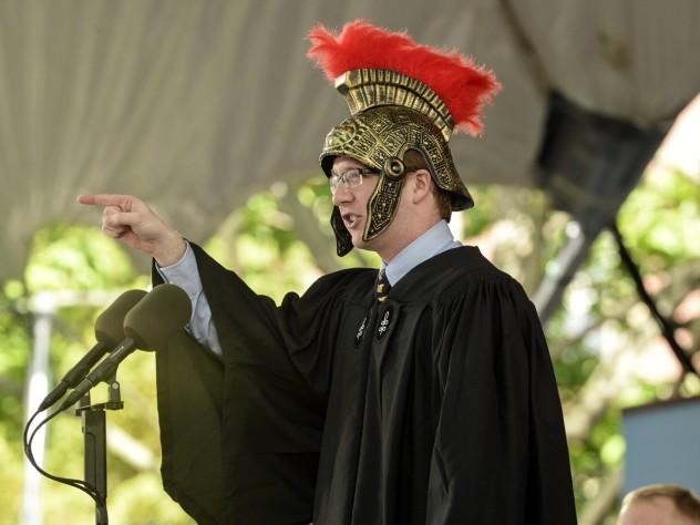 Latin Orator Timothy Barry-Heffernan '14, in character