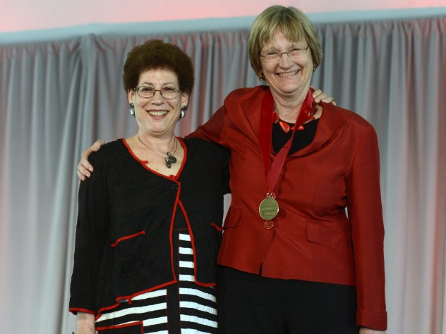 Radcliffe Institute Dean Lizabeth Cohen (left) awarded the Radcliffe Medal to Harvard president Drew Faust at the annual Radcliffe Day luncheon.