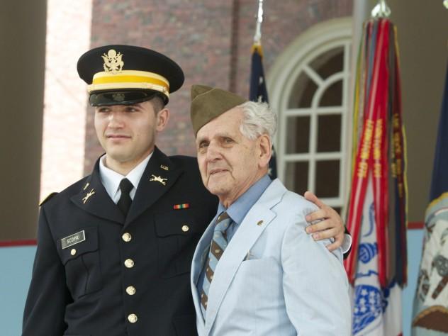William Scopa with his grandfather, Pfc. (retired) Salvatore Scopa, a veteran of World War II's Italian campaign
