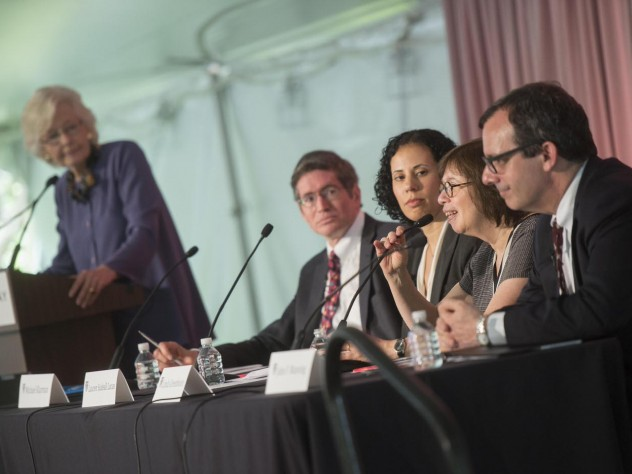 The panel (from left to right): Margaret H. Marshall (at podium), Michael Klarman, Lauren Sudeall Lucas, Linda Greenhouse, and John Manning