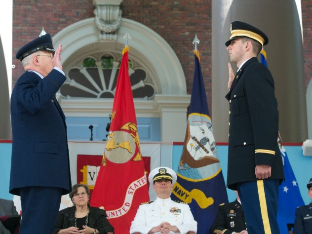 Lieutenant Colonel John Paul Clarke '67 administered the oath of office to his son, new Second Lieutenant James Clarke.