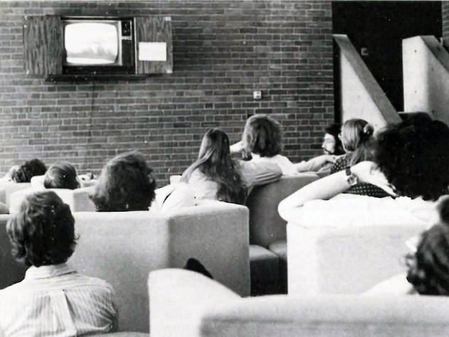 Harvard students watching the Watergate hearings.