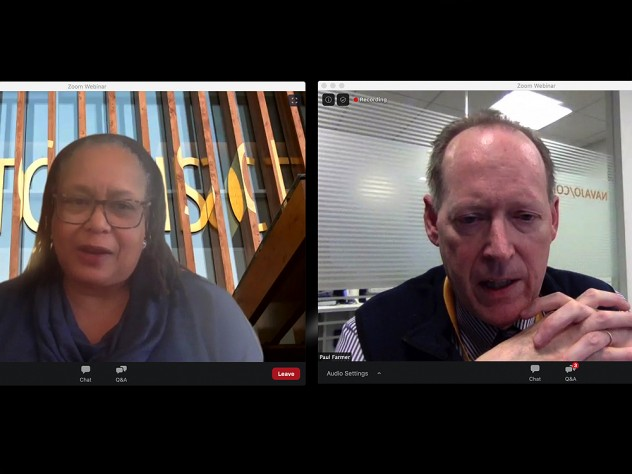 Video split-screen capture of images of Evelynn Hammonds and Paul Farmer