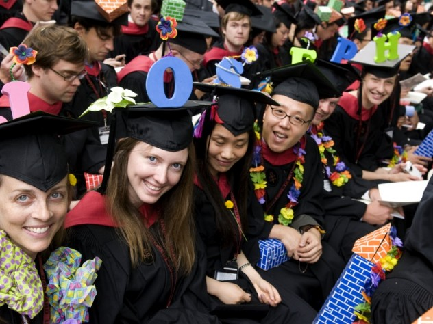"Giving a spell-out for <a href=""http://harvardmagazine.com/commencement/2009-speeches"">Graduate English orator Joseph Claghorn</a> were fellow landscape-architecture students Vanessa Lindley Palmer (J; the ringleader), Katie Jean Powell (O), Sisi Sun (S), Joonhyun Kim (E), Simon Mark Bussiere (P), and Adrienne Re Heflich (H). Design School students still play with blocks."