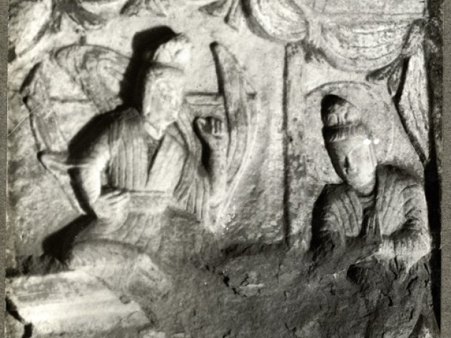 From the Yun Kang Caves, Cave 6, <i>Scenes from the Life of Sakyamuni: Meeting the Poor, the Sick, the Aged, and the Dead Man</i> (5th century A.D.)