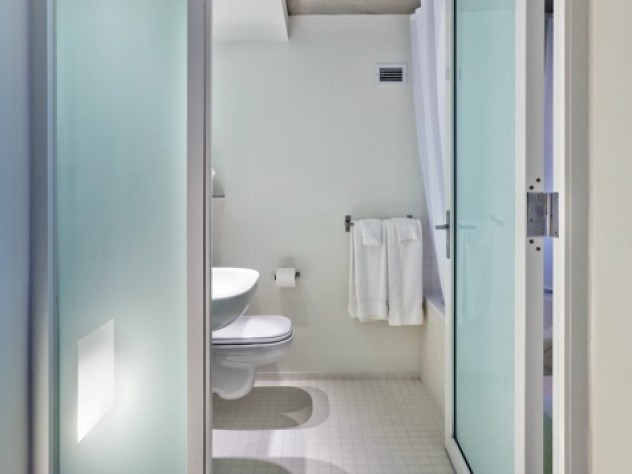 Modern, spare look of new Kripalu bathroom