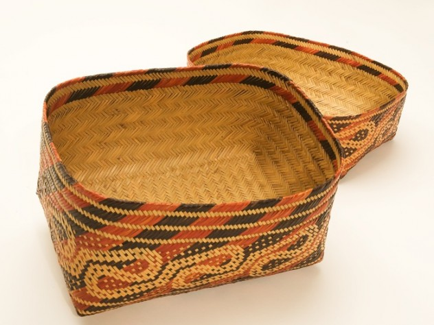 "The interior of the ""Alligator Guts"" patterned basket, displaying the intricate double-weave technique that produces a basket in two continuous layers of cane, one inside the other"