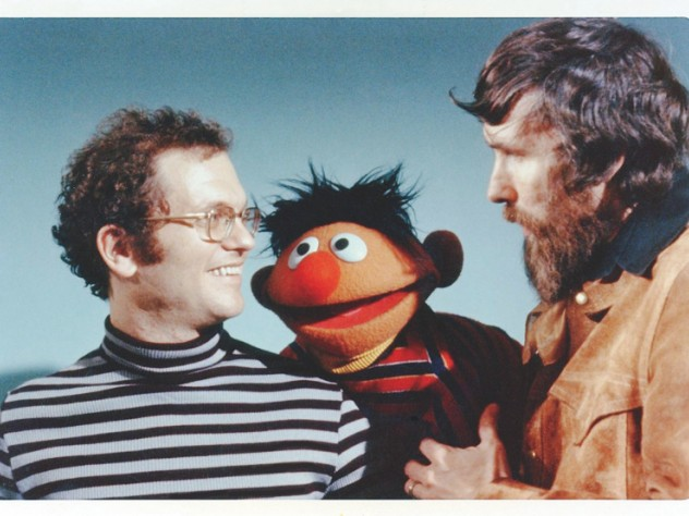 A younger Cerf with Muppeteer Jim Henson (right) and Muppet Ernie.
