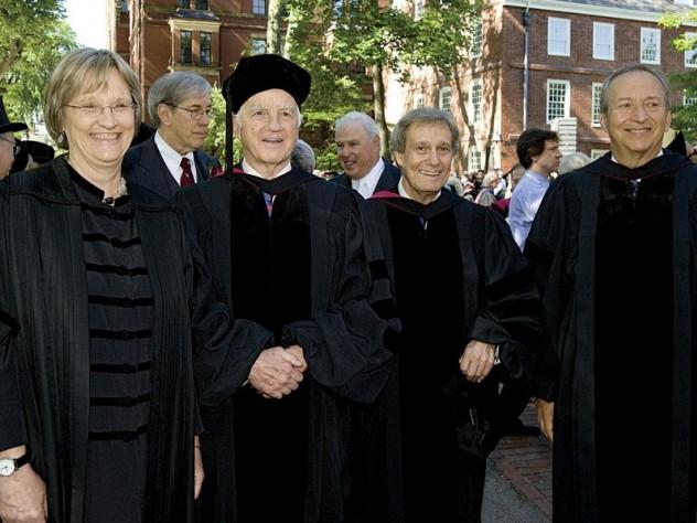 Presidential quartet: Drew Faust, Derek Bok, Neil Rudenstine, and Lawrence Summers.