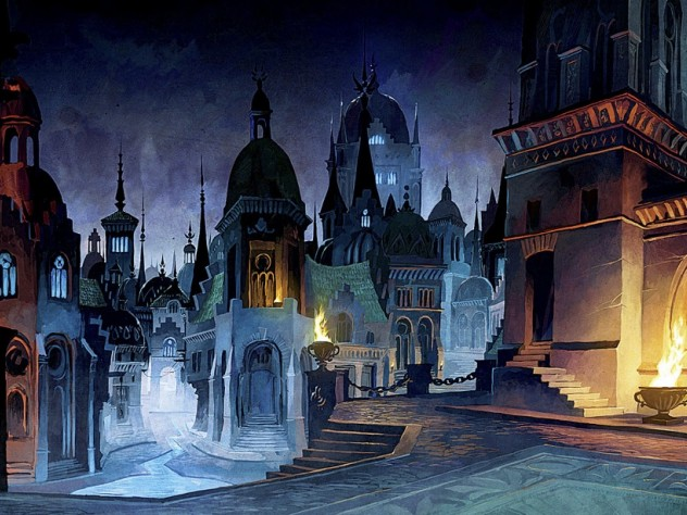Duquette's <i>Almain City at Night </i>is a digital painting for 38 Studios' Project Copernicus.