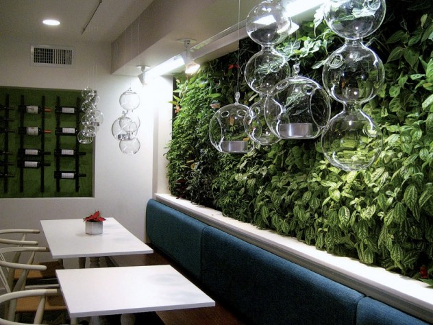 Casa B's living wall of greenery sets a homegrown tone in the lower dining room.