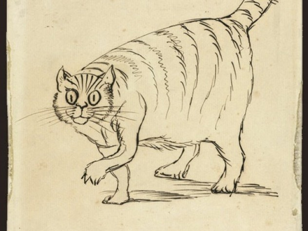 A companion of Lear from 1872 to 1887, Foss (or Phos, as Lear calls him in this sketch) was named after a big cougar-like carnivore of Madagascar. Ink on paper.
