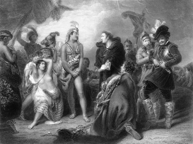 An imagined scene of a meeting between a Spanish expeditionary party and a group of indigenous South Americans.