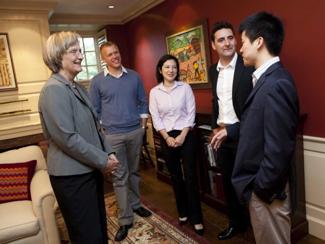 Grand-prize winners of the Harvard University President's Challenge for social entrepreneurship meet with President Drew Faust. Team Vaxess Technologies includes (from left) Michael Schrader, Kathryn Kosuda, Livio Valenti, and Patrick Ho.