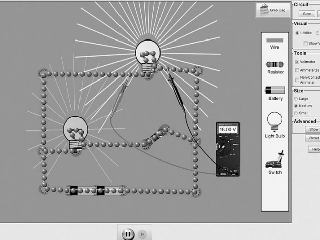A screen shot from one of PhET's most popular simulations, the Circuit Construction Kit