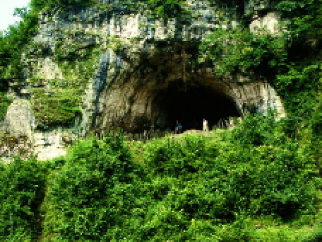Views from inside and outside Dzudzuana Cave in the Republic of Georgia. Bar-Yosef and colleagues are working to date the Middle to Upper Paleolithic transition here in the Caucasus foothills, where it may have occurred much later than in other parts of Europe.