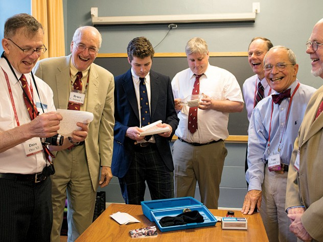 From left: David Otto, Bruce Johnson, Xandy Walsh, Alex Walsh, John Fryer, Tony Rossmann, and Paul Bamberg read letters buried in 1988.