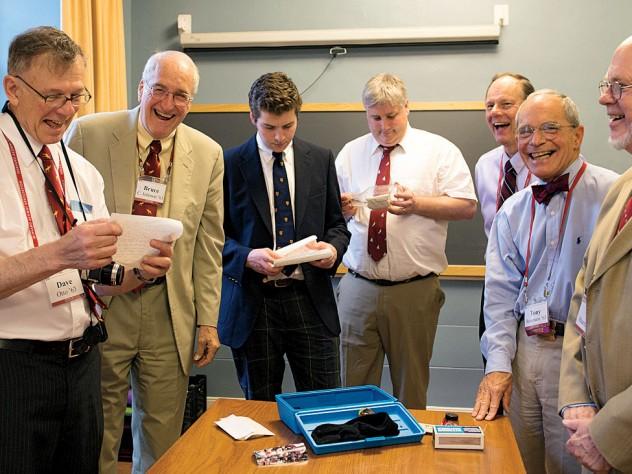 David Otto, Bruce Johnson, Xandy Walsh, Alex Walsh, John Fryer, Tony Rossmann, and Paul Bamberg read letters buried in 1988.