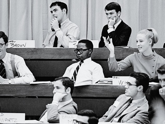 One among many: Harvard Business School pioneer Robin Wigger, suitably attired, in class among fellow M.B.A. students, circa 1970