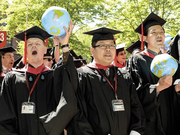 Ready to take on the world are Harvard Kennedy School class marshals Theodore Zagraniski (M.P.A.), I-Chun Hsiao (M.P.P.), and Jonathan Chang (M.P.A.).
