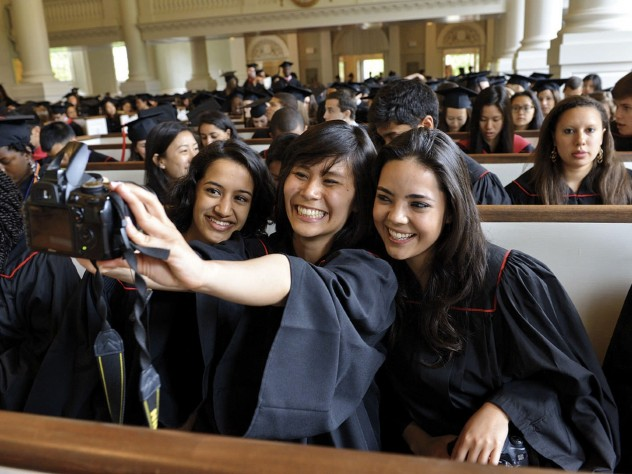Memorial Church memories: a Baccalaureate-service selfie encompasses seniors Raina Gandhi, Jen Zhu, and Maria Barragan-Santana.