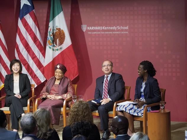 The Kennedy School's leadership panel (from left): M.P.P. candidate Jieum Baek; Liberian president Ellen Johnson Sirleaf; former Mexican president Felipe Calderón; M.P.A. candidate Amandla Agoro Ooko-Ombaka