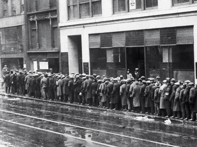 unemployed workers on a Great Depression bread line, c. 1930